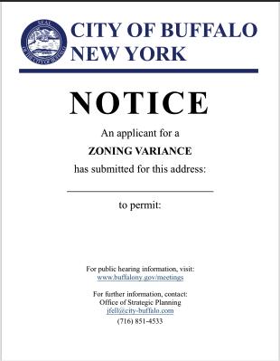 Zoning Variance Sign- Buffalo